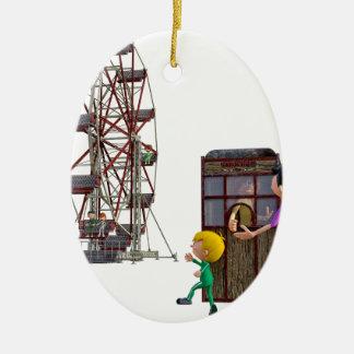 Ornamento De Cerâmica Pai e filho prontos para montar uma roda de Ferris
