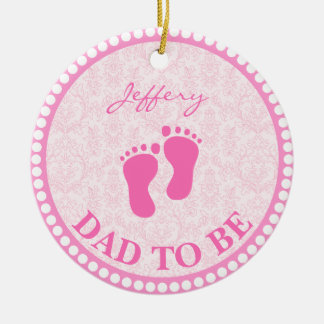 Ornamento De Cerâmica Pai para ser rosa da menina personalizado