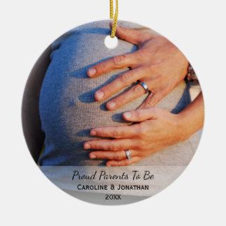 Ornamento De Cerâmica Pais de espera novos a ser foto clássica simples