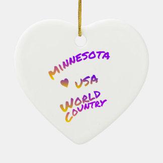 Ornamento De Cerâmica País do mundo de Minnesota EUA, arte colorida do