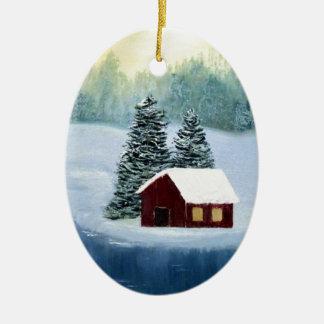 Ornamento De Cerâmica Paisagem congelada paz das árvores do rio da neve