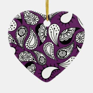 Ornamento De Cerâmica Paisley roxo escuro