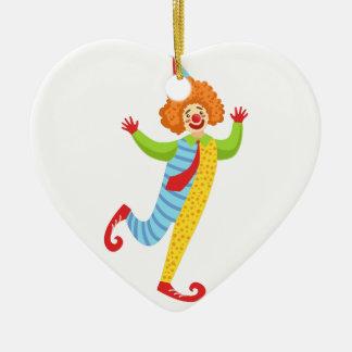 Ornamento De Cerâmica Palhaço amigável colorido com o laço no