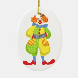 Ornamento De Cerâmica Palhaço amigável colorido que joga o acordeão na