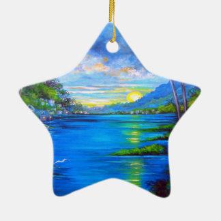 Ornamento De Cerâmica Palmas tropicais azuis
