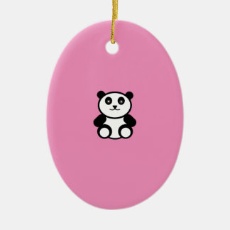 Ornamento De Cerâmica Panda bonito no rosa Pastel
