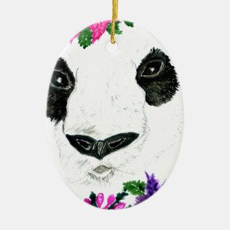 Ornamento De Cerâmica Panda com flores