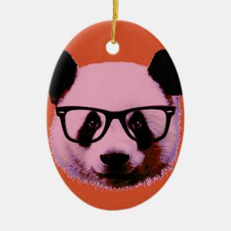 Ornamento De Cerâmica Panda com vidros na laranja