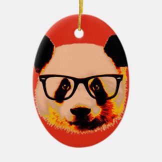 Ornamento De Cerâmica Panda com vidros no vermelho