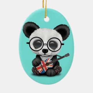 Ornamento De Cerâmica Panda do bebê que joga a guitarra britânica da