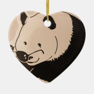 Ornamento De Cerâmica Panda legal com máscaras