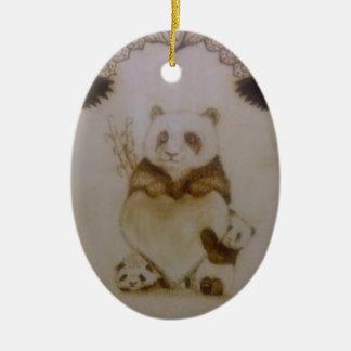 Ornamento De Cerâmica Panda Loving