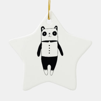 Ornamento De Cerâmica Panda preto e branco pequena