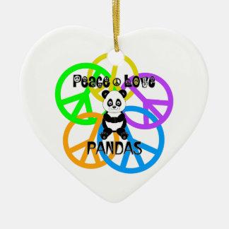 Ornamento De Cerâmica Pandas do amor da paz