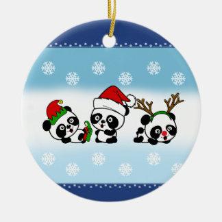 Ornamento De Cerâmica Pandas do Natal