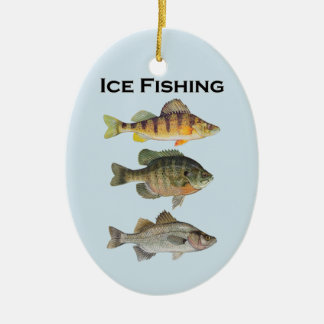 Ornamento De Cerâmica Panfish da pesca do gelo