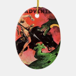 Ornamento De Cerâmica Pantera contra o dinossauro