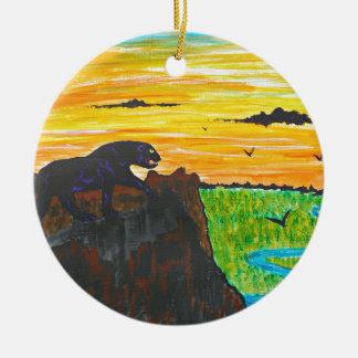 Ornamento De Cerâmica Pantera no prowl