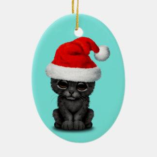 Ornamento De Cerâmica Pantera preta bonito Cub que veste um chapéu do