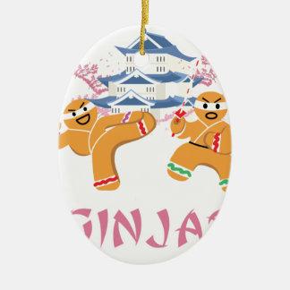 Ornamento De Cerâmica Pão-de-espécie de Ninja do Natal de Ginjas Ninjas