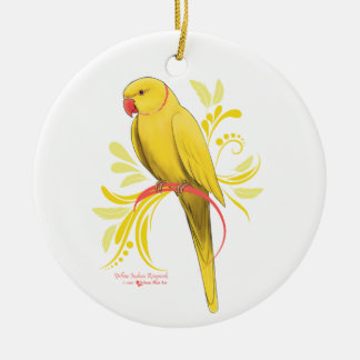 Ornamento De Cerâmica Papagaio amarelo de Ringneck do indiano