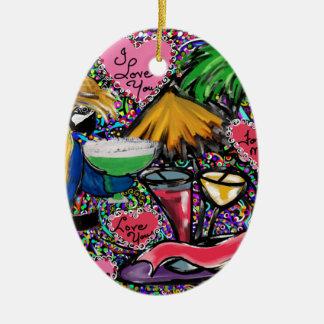 Ornamento De Cerâmica Papagaio do partido dos namorados