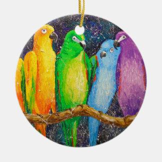 Ornamento De Cerâmica Papagaios