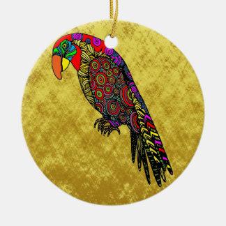 Ornamento De Cerâmica Papagaios na folha de ouro azul verde vermelha