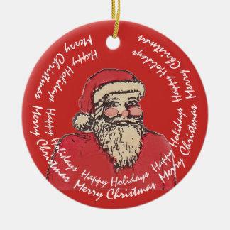 Ornamento De Cerâmica Papai Noel alegre com seu texto
