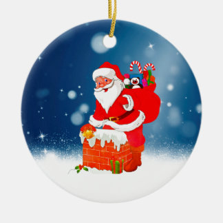 Ornamento De Cerâmica Papai Noel bonito com a estrela da neve do Natal