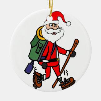 Ornamento De Cerâmica Papai Noel bonito que caminha desenhos animados do