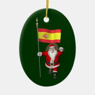 Ornamento De Cerâmica Papai Noel com a bandeira da espanha