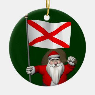 Ornamento De Cerâmica Papai Noel com a bandeira de Alabama