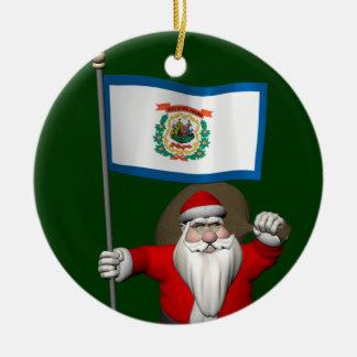 Ornamento De Cerâmica Papai Noel com a bandeira de West Virginia