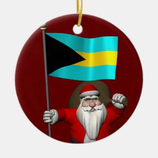 Ornamento De Cerâmica Papai Noel com a bandeira dos Bahamas