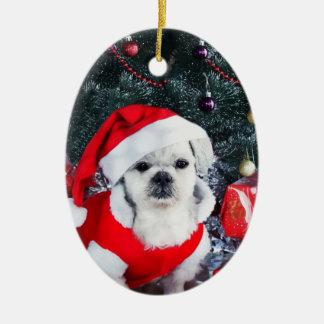 Ornamento De Cerâmica Papai noel da caniche - cão do Natal - cão de