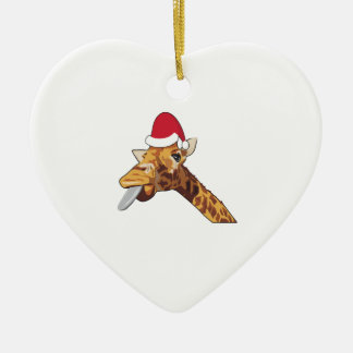 Ornamento De Cerâmica Papai noel do Natal do girafa