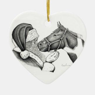 Ornamento De Cerâmica Papai noel do Natal e cavalo do Pinto da pintura