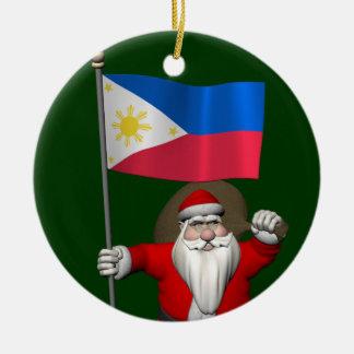 Ornamento De Cerâmica Papai Noel doce com a bandeira das Filipinas