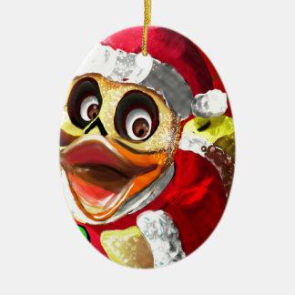 Ornamento De Cerâmica Papai noel Ducky de borracha dos Cocos