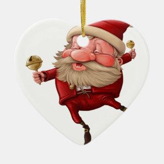 Ornamento De Cerâmica Papai Noel e a dança do sino