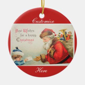 Ornamento De Cerâmica Papai noel e Natal da nostalgia do vintage do