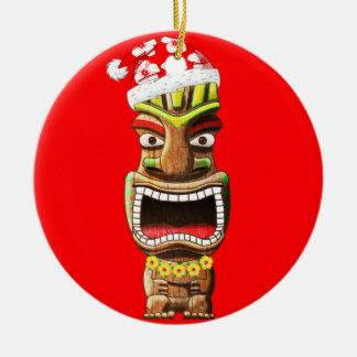 Ornamento De Cerâmica Papai noel havaiano Tiki do Natal