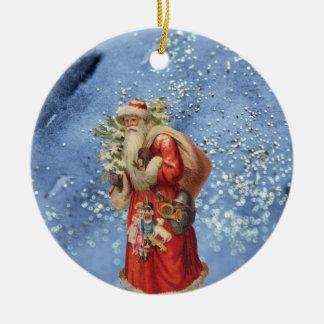 Ornamento De Cerâmica Papai noel nostálgico com fundo Glittery azul