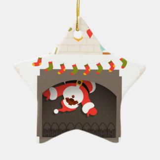 Ornamento De Cerâmica papai noel preto colado na lareira