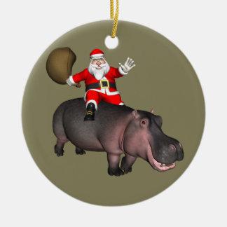 Ornamento De Cerâmica Papai noel que monta no hipopótamo