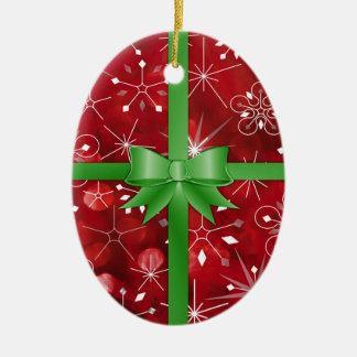 Ornamento De Cerâmica Papel de embrulho do Natal