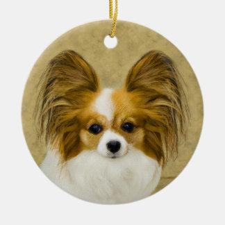 Ornamento De Cerâmica Papillon (tri cor do cão)