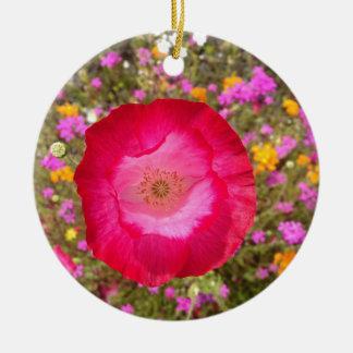 Ornamento De Cerâmica Papoila cor-de-rosa