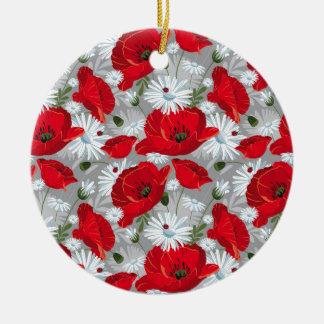 Ornamento De Cerâmica Papoila vermelha bonita, margaridas brancas e